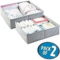 mDesign Cajas almacenaje juego de 2 – 2 Cajas organizadoras con 2 compartimentos – Cajas almacenaje ropa en plástico – Color: gris