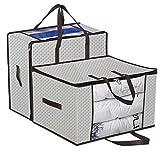homyfort Set di 2 Pieghevole organizzatore Armadio - scatole Armadio in Tessuto - Sacchetto di Vestiti Bagagli per la memorizzazione di Abbigliamento, Piumini, 58 x 49 x 35 cm, Color Crema, X3MR60M