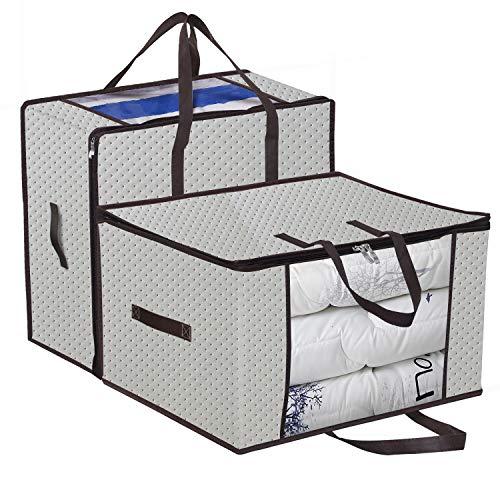 homyfort 2 Stück Aufbewahrungstasche für Bettdecken und Kissen - Kleidung Lagerplätze, Decken Organisator Lagerbehälter, Haus bewegen Tasche Feuchtigkeit Geschützt 58x 49x 35 cm 99.5L, Beige, X3MR60M -