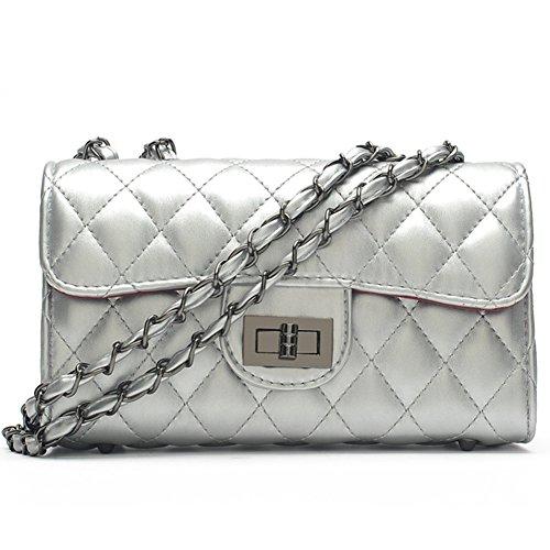 fanhappygo Fashion Retro Leder Damen elegant gesteppte kleinen duftenden Handtaschen Umschlag Schulterbeutel Umhängetaschen Silber