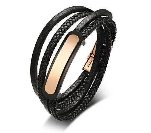 Vnox Angepasste Edelstahl PU geflochtene Leder Armband Rose Gold ID Tag Wrap Armband für Männer,graviert (Für Gold-jesus-armband Männer)