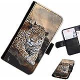 Hairyworm- léopard Samsung Galaxy S3 Mini (I8190, I8190N) étui en cuir pour téléphone avec rabat, style portefeuille avec emplacements pour les cartes et l'espèce, et fermeture magnétique.