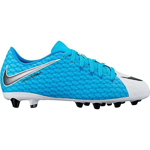 Nike Unisex-Kinder Jr Hypervenomx Phelon 3 Ag-Pro Fußballschuhe 104 WHITE/BLACK-PHOTO BLUE-CHL