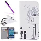 Samsung Galaxy S4 Mini Hülle,Samsung Galaxy S4 Mini Case,Galaxy S4 Mini Hülle Leder Schwarz Handy Tasche Wallet Case Flip Cover Etui für Samsung Galaxy S4 Mini,EMAXELERS Galaxy S4 Mini Case Niedlich Rot Engel Mädchen Muster Schutzhülle Ledertasche Lederhülle Handyhülle Hüllen mit Standfunktion Kunstleder für Samsung Galaxy S4 Mini,Couple Dandelion