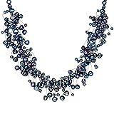 Valero Pearls Damen-Kette Hochwertige Süßwasser-Zuchtperlen in ca. 4-6 mm Barock blau 925 Sterling Silber 42 cm + 5 cm Verlängerung - Perlenkette Dunkelblau Halskette mit echten Perlen 120314