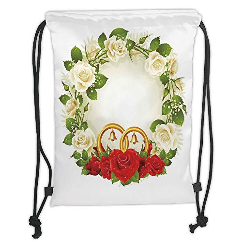 Fashion Printed Drawstring Backpacks Bags,Wedding Decorations,Frame with White and Red Roses and Stylized Wedding Rings Romance,White Green Red Soft Satin,5 Liter Capacity,Adjustable String Closur