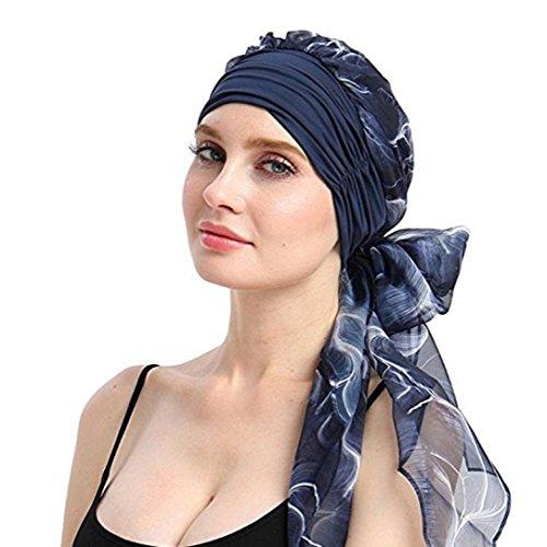 URSING Damen Baumwolle Kopftuch Bandana Hat Fur Haarverlust Frauen Indien Muslim Elastic Turban Chiffon Drucken Long Tail Hut Kopftuch Wrap Kopfbedeckung Schal Mützen Headscarf (D)