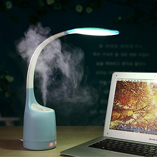 Lampe de table Lyy Lampe de Bureau Pliante 2 en 1 LED avec humidification Charge USB Lire Lire Mini humidificateur, Blue