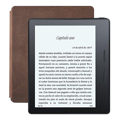 E-READER KINDLE OASIS CON FUNDA DE CARGA DE CUERO NOGAL  PANTALLA DE 6 (15 2 CM) DE ALTA RESOLUCION (300 PPP) CON LUZ INTEGRADA  WIFI