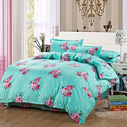 4Muster, Bettwäsche Sets Bettbezug (keine Tröster involviert) Bettunterlagen pillowcase2hautfreundliches Material verwendet, baumwolle, Floral, Blue, Twin(58