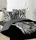 Bettbezug schwarz bedruckt Tiger weiß 220x 240oder