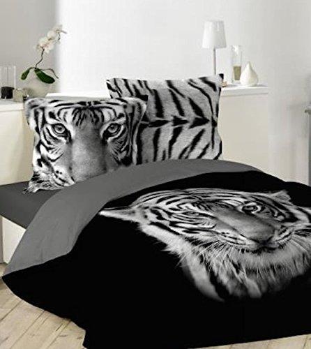 Bng - Juego de cama con funda de edredón de 220x 240cm o 240x 260cm y 2fundas de almohada de 63x 63 cm, diseño impreso de tigre, color blanco y negro, negro, 220 x 240