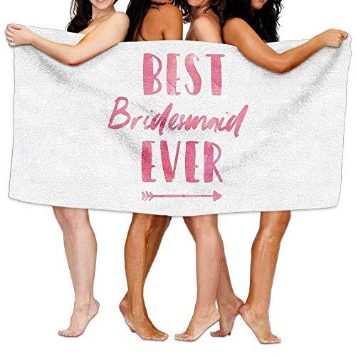 tyui7 Damen Badetuch Wrap - Beste Brautjungfer Aller Zeiten Rosa Reise Waffel Spa Quick Dry Strandtuch Wrap für Männer Frauen, 80x130 cm -
