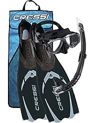 Cressi Pluma - Pack de snorkel unisex, color negro / gris, talla 43 / 44