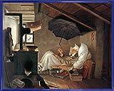 1art1 Carl Spitzweg Poster Kunstdruck und Kunststoff-Rahmen - der Arme Poet (50 x 40cm)