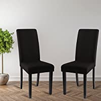 Fundas para sillas paquete de 2, estirable, lavable, elásticas, Fundas Sillas Comedor Perfecto para Casa, Hotel, Restaurante, Bar en la Fiesta y Navidad. (Negro)