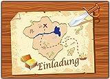 Kartenversand24 Einladungskarten zum Kindergeburtstag Pirat - 12 Stück Piraten Schatzkarten EInladung Piratenparty Schatzkarte Geburtstagseinladung Jungen Mädchen