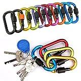 10 verschieden farbigen Karabinerhaken Set Schlüsselanhänger mit Schraubverschluss