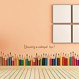 Wallpark Artistico Colored Matite Battiscopa Removibile Adesivi Murali Adesivi da Parete, Bambini Camera Vivai DIY Arte Decorativo Adesivo Murale