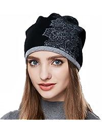 c3cb5602704 URSFUR Femme Fille Chapeau Bonnet Beanie Tendance à Fleur Stras Bonnet  Tricot Laine Hiver