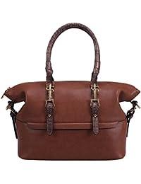 Celaine Womens Handbags Classic Royalty PU Leather Shoulder Tote Bag - Pearl Buckles & Zipper