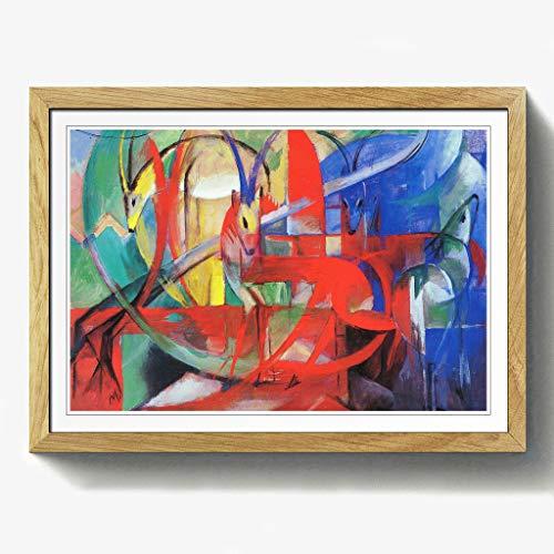 BIG Box Art Franz Marc Gazelle Print mit schwarzem Rahmen, Mehrfarbig, Größe A2, 24,5x 18-inch-p, Holz, Eiche, 24.5 x 18-Inch/A2