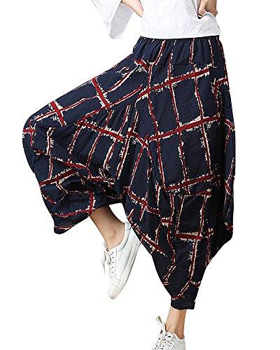 ShiFan Baggy Escoceses Pantalones Pata De Elefante Cintura Elástica Harem Pantalon Mujer Azul M