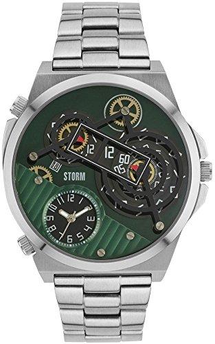 Storm Herren-Armbanduhr Fashion Analog Edelstahl-Armband silber Quarz-Uhr Ziffernblatt grün UST47329/GN