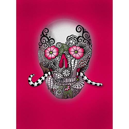 Abstract Mexican Day of Dead Skull Painting Art Print Canvas Premium Wall Decor Poster Mural Abstrakt Schädel Malerei Wand Deko