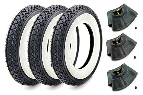 Set:3 Reifen Kenda - K 333 - Weißwand - Größe 3.50-10-51J - 4PR - für Piaggio Vespa PX 125 150 200 inkl. Schläuche