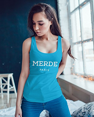 Freches Damen Tank-Top Shirt Merde Paris Racerback Moonworks® Türkis