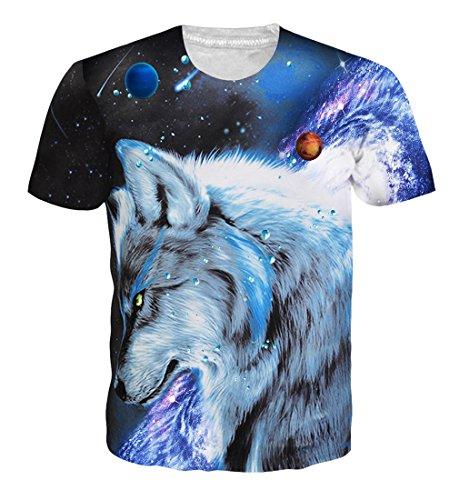 Goodstoworld T Shirt 3D Druck Herren Damen Galaxy Wolf Print Sommer Lustige Beiläufige Kurzarm Partner T-Shirts T-Stücke S