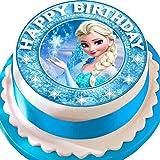 Essbarer Zuckerguss-Tortenaufsatz, Eiskönigin Elsa, Happy Birthday, Sternenrand, vorgestanzt