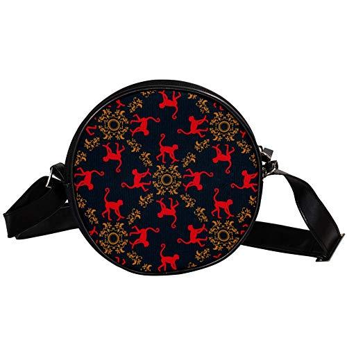 TIZORAX Handtasche mit roten Affen, Vintage-Design, klein, rund, für Damen und Mädchen (Monkey Red Designs)