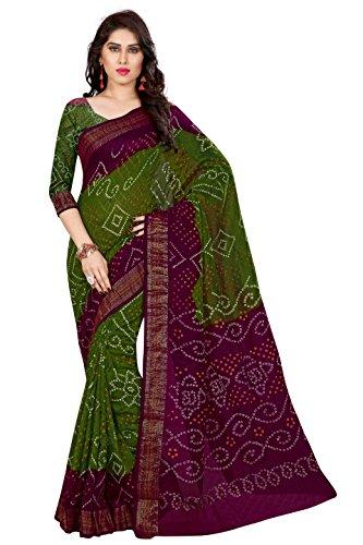Concepta Women's Art Silk Bandhani Saree (Magenta & Mehendi_Free Size)