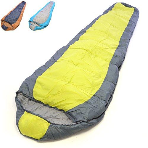 Nexos Mumienschlafsack Himala grau-gelb 210x74 cm 5-12°C 190T Polyester 2 kg Kapuze Kordelzug Schlafsackhülle 3/4 Jahreszeiten Camping Reißverschluss 190T Poly Rohseide Zelten