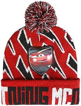 Disney Cars 2200-2568 Beanie Mütze, Pompon, Led, Winter Acryl, Eine Größe, Mehrfarbig, Lightning McQueen