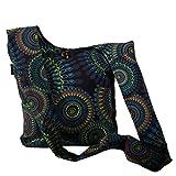 KUNST UND MAGIE Schultertasche Umhängetasche mit bunten Psy Mustern, Farbe:Schwarz/Lila