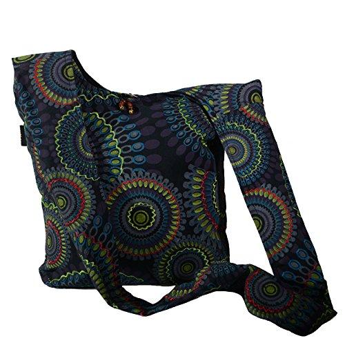 KUNST UND MAGIE Schultertasche Umhängetasche mit bunten Psy Mustern, Farbe:Schwarz/Lila -