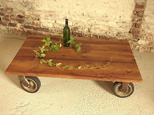 Tisch mit alten DDR Industrierollen, Industriedesign, Industrielook, Loft-Tisch, Couchtisch, Beistelltisch, Unikat, Handmade in Germany, Maße 120 x 80 x 29 cm