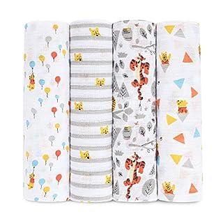 aden by aden + anais Disney Baby swaddle, 100% cotton muslin, 112cm X 112cm, 4 pack, graphic Winnie