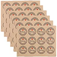 Dosige Pegatinas Kraft Paper Sealing,Pegatina redonda,THANK YOU Texto Etiquetas,Regalo decorativo, embalaje,10 hojas (12pcs/sheet) diámetro de 3.8CM size 3.8 X 3.8CM (Marrón claro)