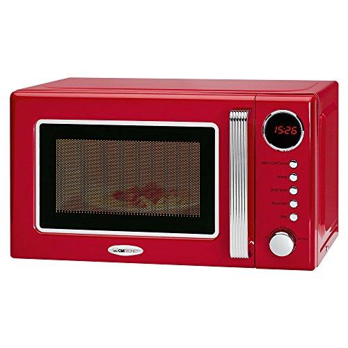 Clatronic MWG 790 - Microonde con grill da 20 litri, 700 / 1000W, display digitale, 9 programmi automatici, timer, serie Rock & Retro vintage style colore rosso