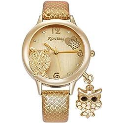 Fashion Cute Owl Pendant Rhinestones Leather Strap Quartz Women Wrist Watch,Gold