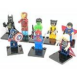 8 piezas mini figura de acción de acción - Batman - Spiderman - Hombre de Hierro - Wolverine - Thor - Hulk - Capitán América del Reino Unido entrega rápida, IDEAL regalo de Navidad #Lot 1