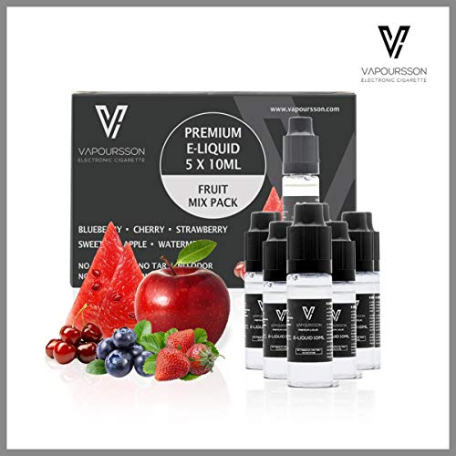 VAPOURSSON 5 X 10ml E Liquid gemischte Früchte, 0mg (Ohne Nikotin) Süßer Roter Apfel - Blaubeere - Kirsche - Erdbeere - Wassermelone - Neue Formel für elektronische Zigaretten und E Shisha