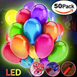 Jyoker 50 Stücke LED Leuchtende Luftballons Blinkendes Licht für Hochzeit Party/Geburtstag/Festival/Weihnachten Dekoration mit Bunte Ballons