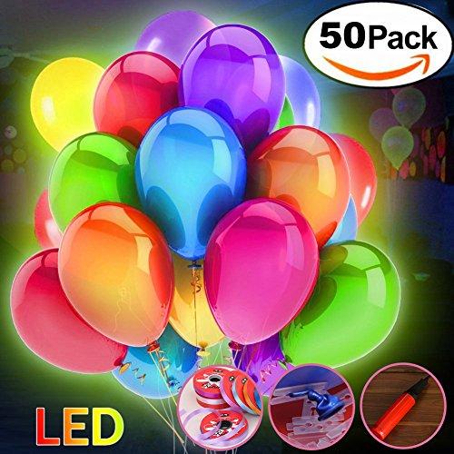UPSTONE 50 Stücke LED Leuchtende Luftballons Blinkendes Licht für Hochzeit Party/Geburtstag/Festival/Weihnachten Dekoration mit Bunte Ballons