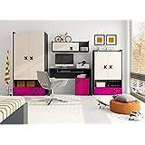 Habitación de los Niños Juego juvenil habitaciones IKS.02(5piezas) Antracita/roble Crema/rosa Niños Muebles