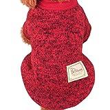 Nette Haustier Hundestrickjacke, Hmeng Einfarbig Wolle Pullover Haustier Welpen Katzen Warmes Hund Mantel 5 Größen 11 Farben (XXL, Rot)